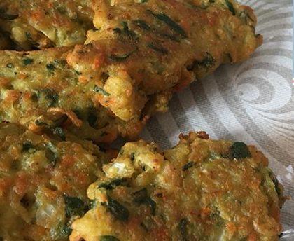 Buñuelos con Harina de Garbanzos y verduras.