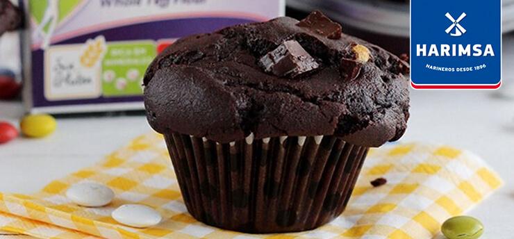 Muffins de chocolate con harina integral de teff Harimsa